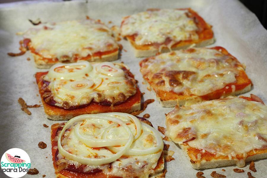 Pizzas rápidas con pan de molde
