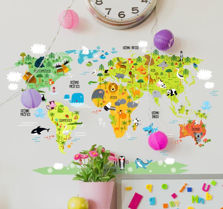 vinilo mapa mundi para niños