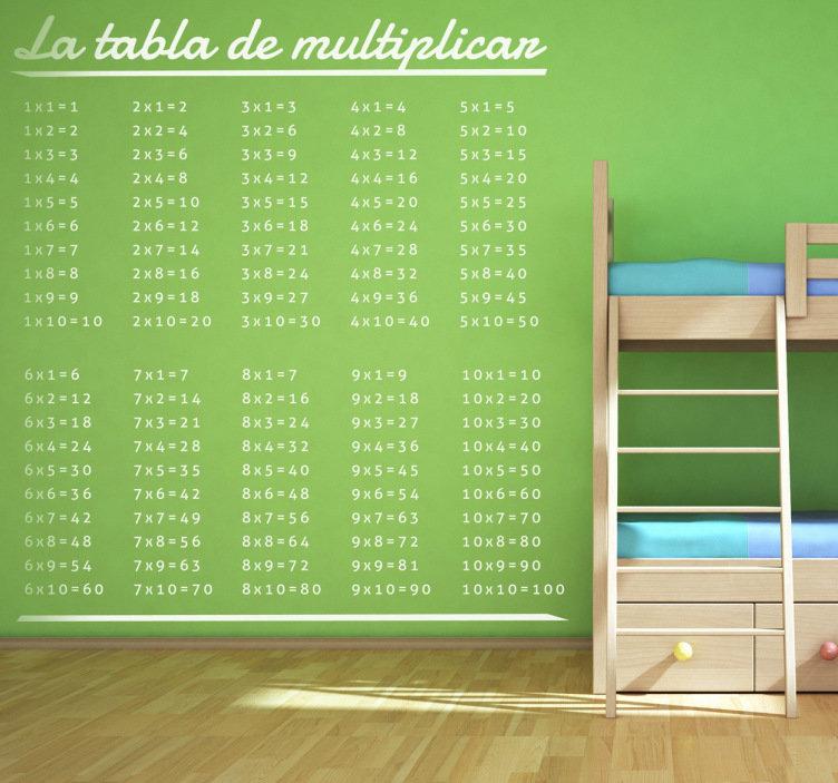 vinilo para niños de la tabla de multiplicar