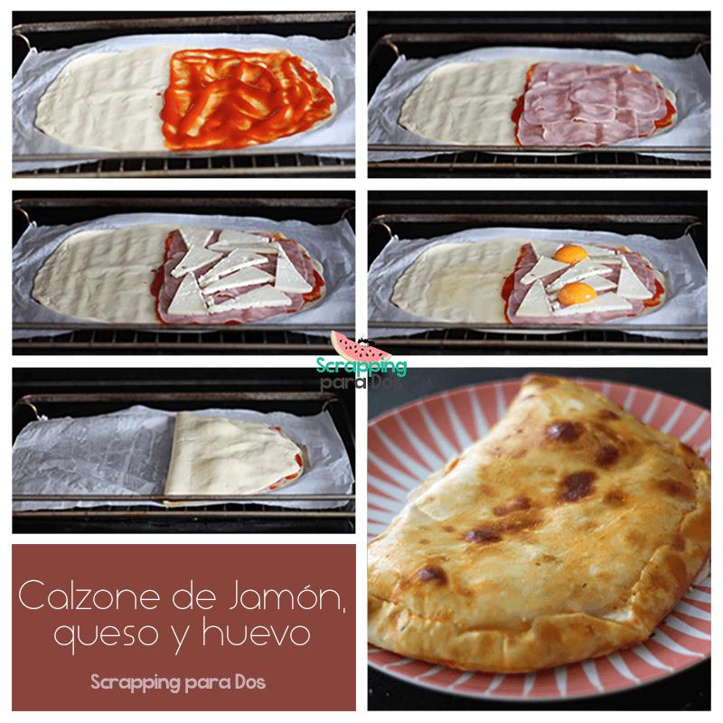 Calzone de jamón, queso y huevo paso a paso