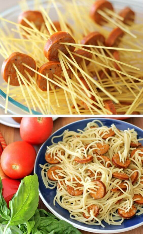 espagueti con salchichas paso a paso