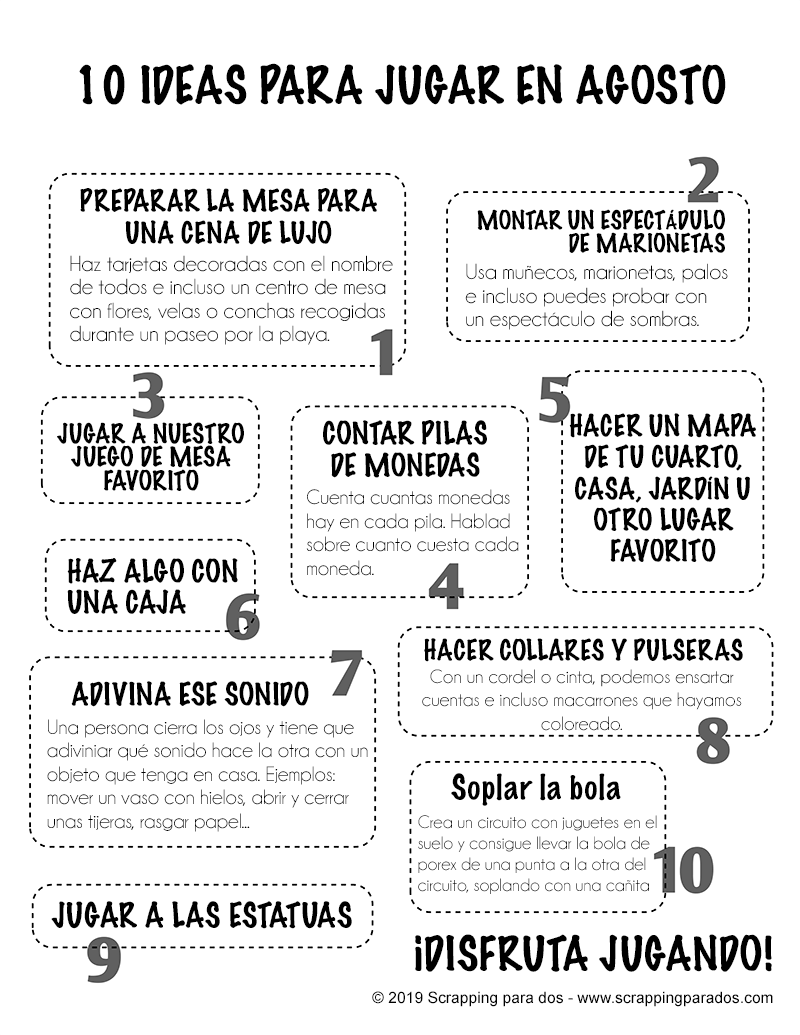10 ideas para jugar con tus hijos en agosto (imprimible gratis)