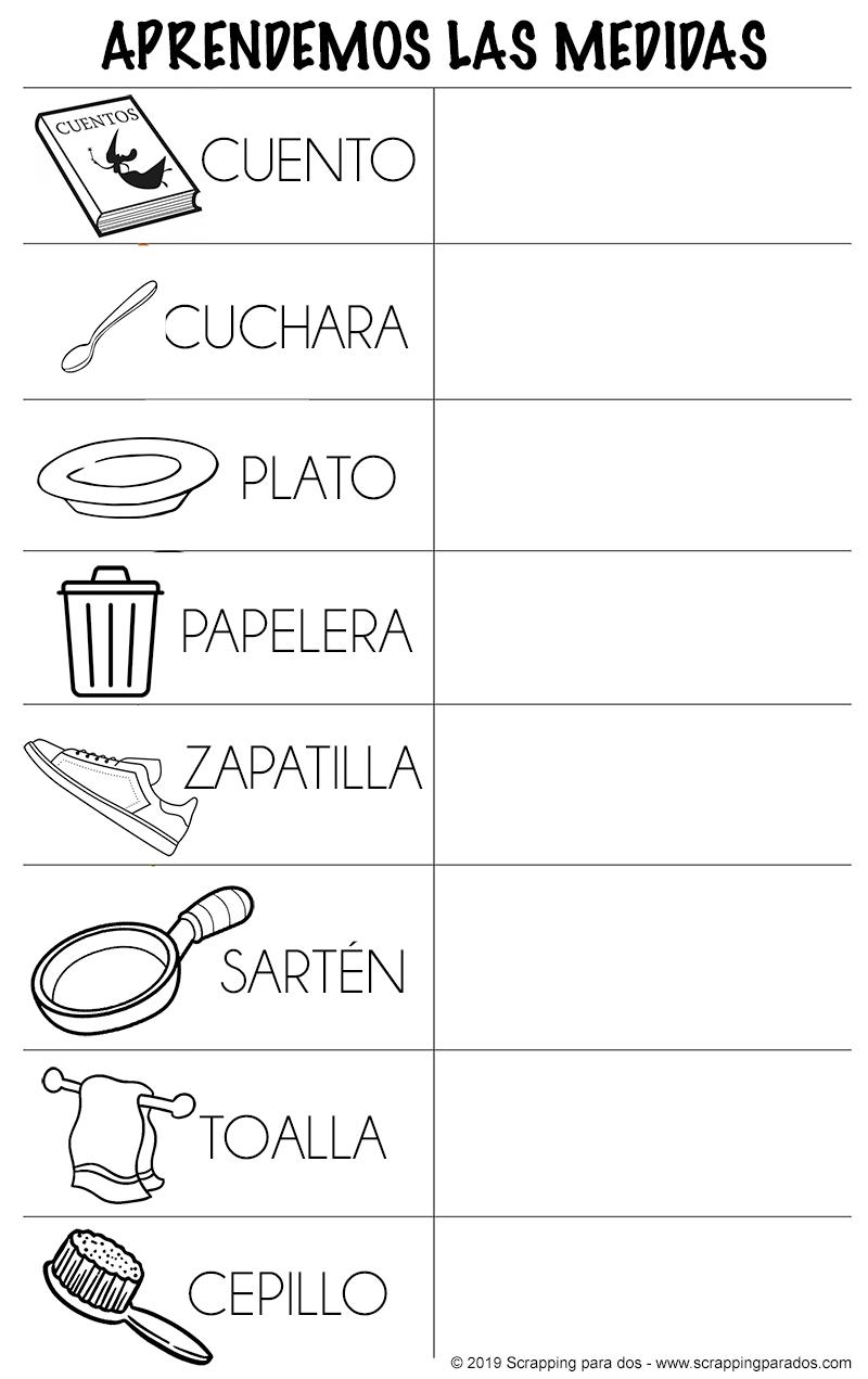 objetos de la casa con medidas pequeñas