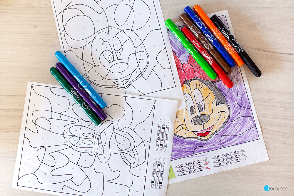 dibujos disney para colorear con números