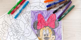 colorear con números dibujos disney